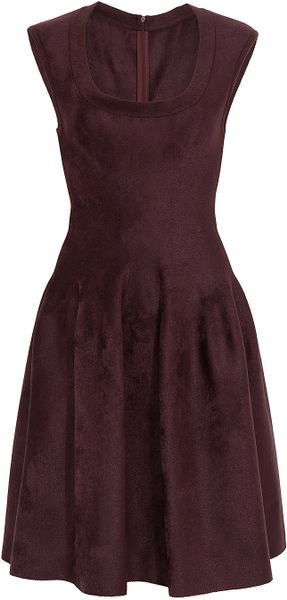 Alaïa Velours Round Neck Dress in Brown