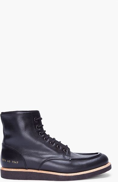 common projects black leather work boots in black for