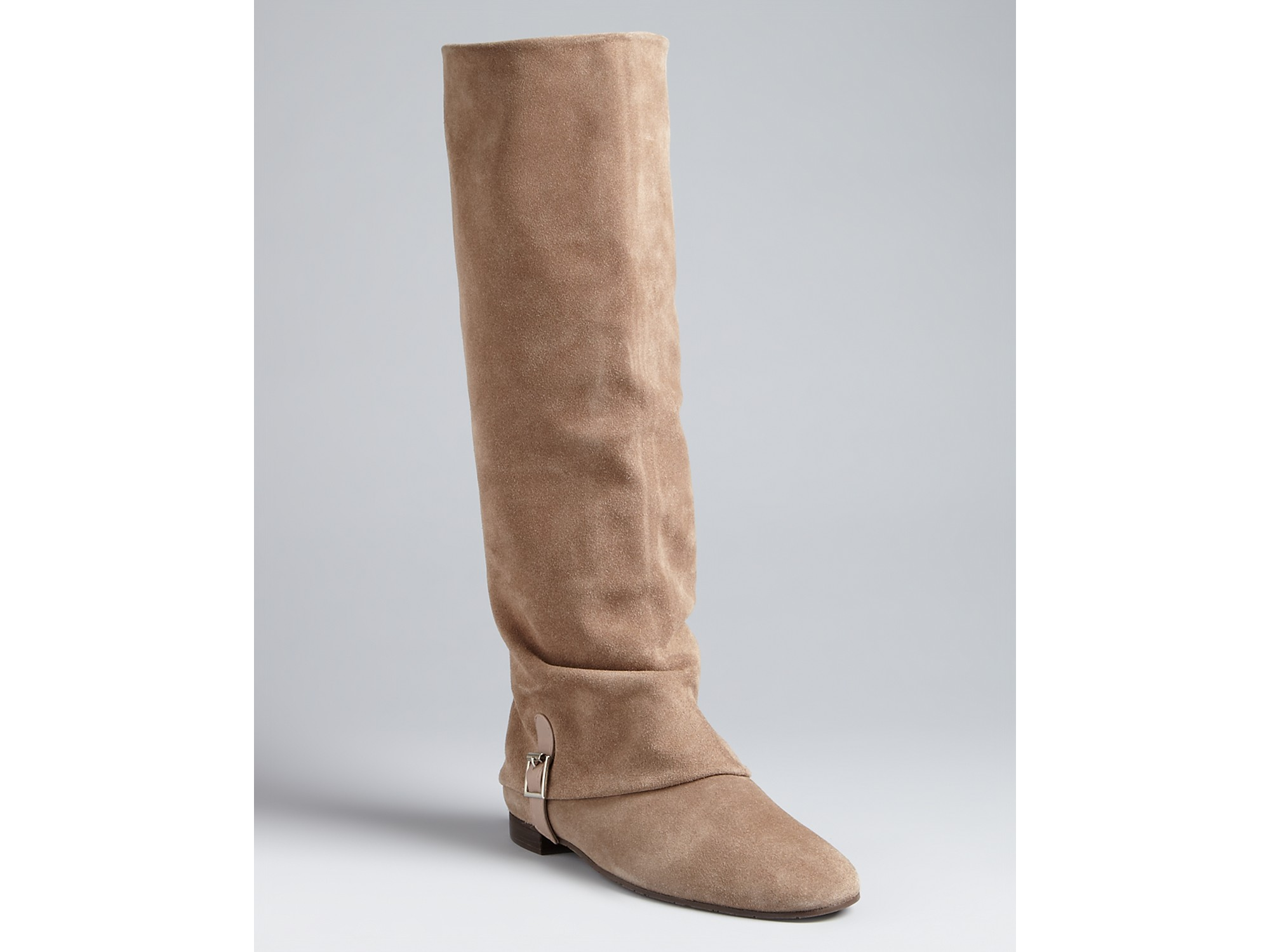 Delman Tall Flat Boots June in Taupe
