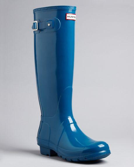 Hunter Rain Boots Original Tall Gloss In Blue Steel Blue