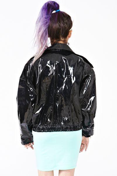 Nasty Gal Shine On Vinyl Moto Jacket In Black Lyst