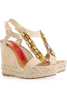 Paloma Barceló Agamar Embellished Suede Wedge Sandals - Lyst