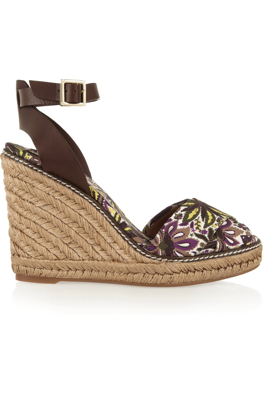 145cdb54ba8 Lyst - Tory Burch Printed Canvas and Leather Espadrille Wedge Sandals in  Brown