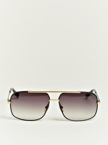 Dita Black Eighteen Carat Gold Frame Sunglasses In Black