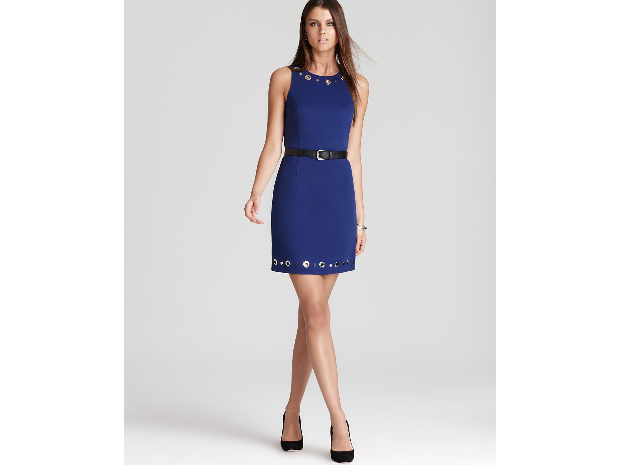 michael kors michael sleeveless belted dress with grommets