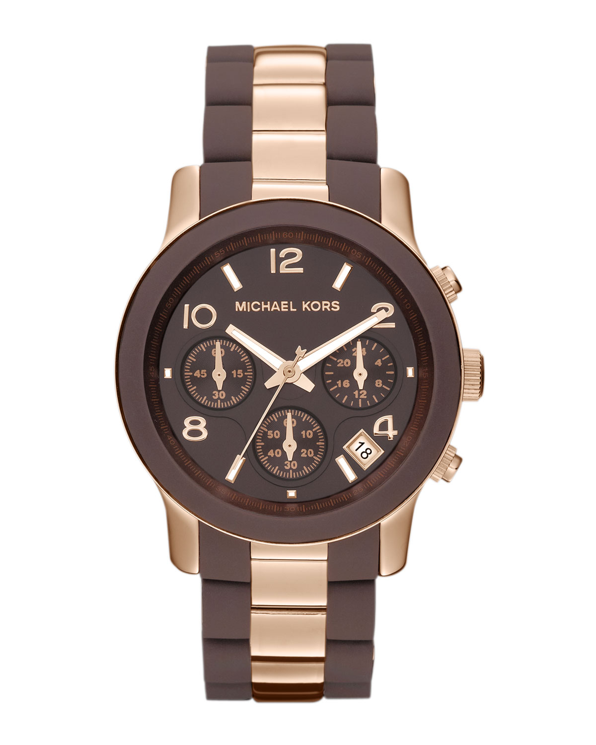 Michael kors midsize brown silicone and rose golden stainless steel runway chronograph watch in for Watches michael kors