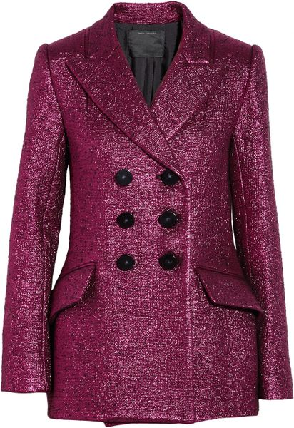 Marc Jacobs Metallic Bouclé Wool Blend Jacket in Purple