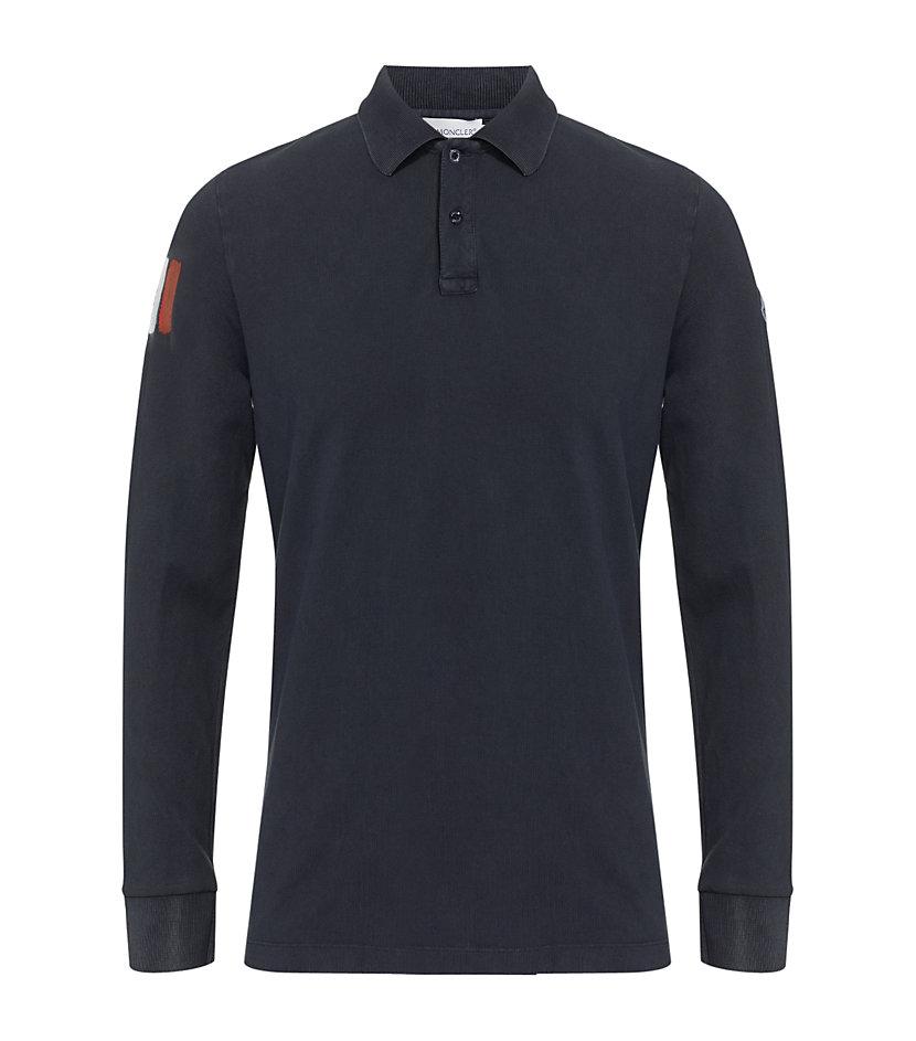 Moncler Long Sleeve Logo Polo Shirt In Blue For Men Navy