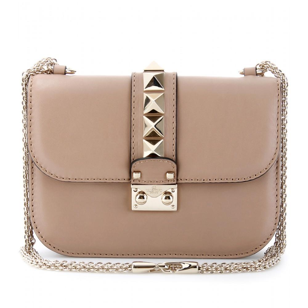 valentino va va voom mini rockstud leather shoulder bag in beige sabbia lyst. Black Bedroom Furniture Sets. Home Design Ideas