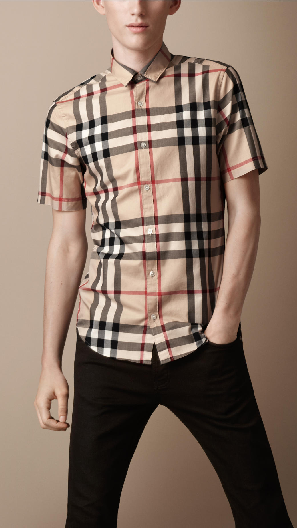 Lyst Burberry Brit Check Cotton Shirt In Natural For Men
