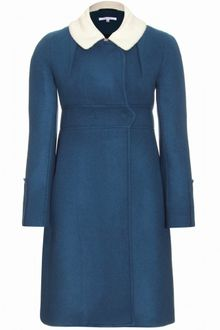 Carven Doulbebreasted Wool Coat with Wool Fleece Collar - Lyst