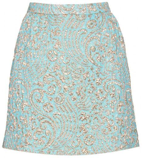 Dolce & Gabbana Jacquard Woven Mini Skirt in Gold
