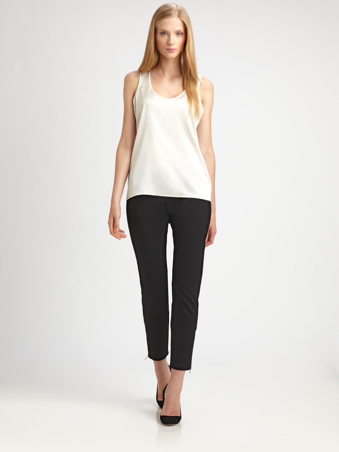 6f779531752f4e Lyst - Eileen Fisher Silk Charmeuse Tank Top in White