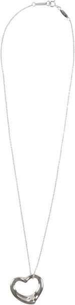 Elsa Peretti X Tiffany & Co Sterling Silver Open Heart Chain Necklace - Lyst