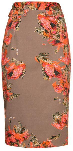 Erdem Shona Printed Skirt in Beige (floral)