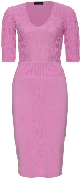 Fendi Contrast Knit Cotton Dress in Pink (lilac) - Lyst