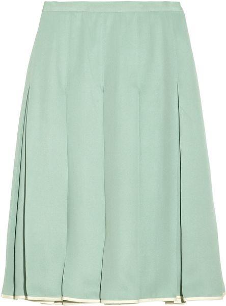Jill Stuart Gabriella Pleated Silkcrepe Skirt in Green (mint)