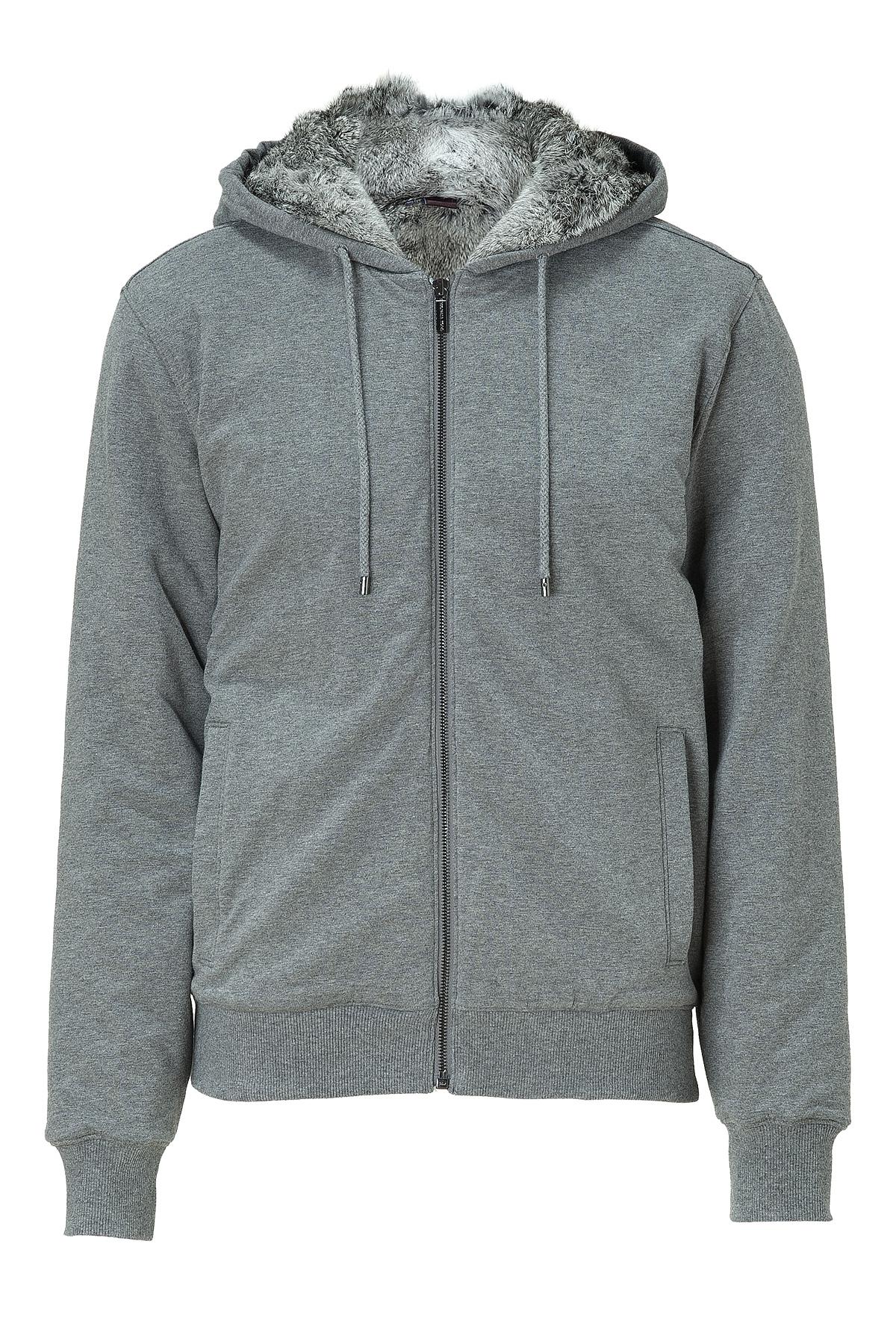 Lyst Michael Kors Ash Fur Lined Zip Hoodie In Gray For Men