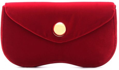 Miu Miu Velvet Clutch in Red (cherry)