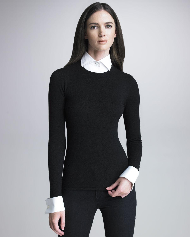Black Sweater With Animal Fur Cuffs
