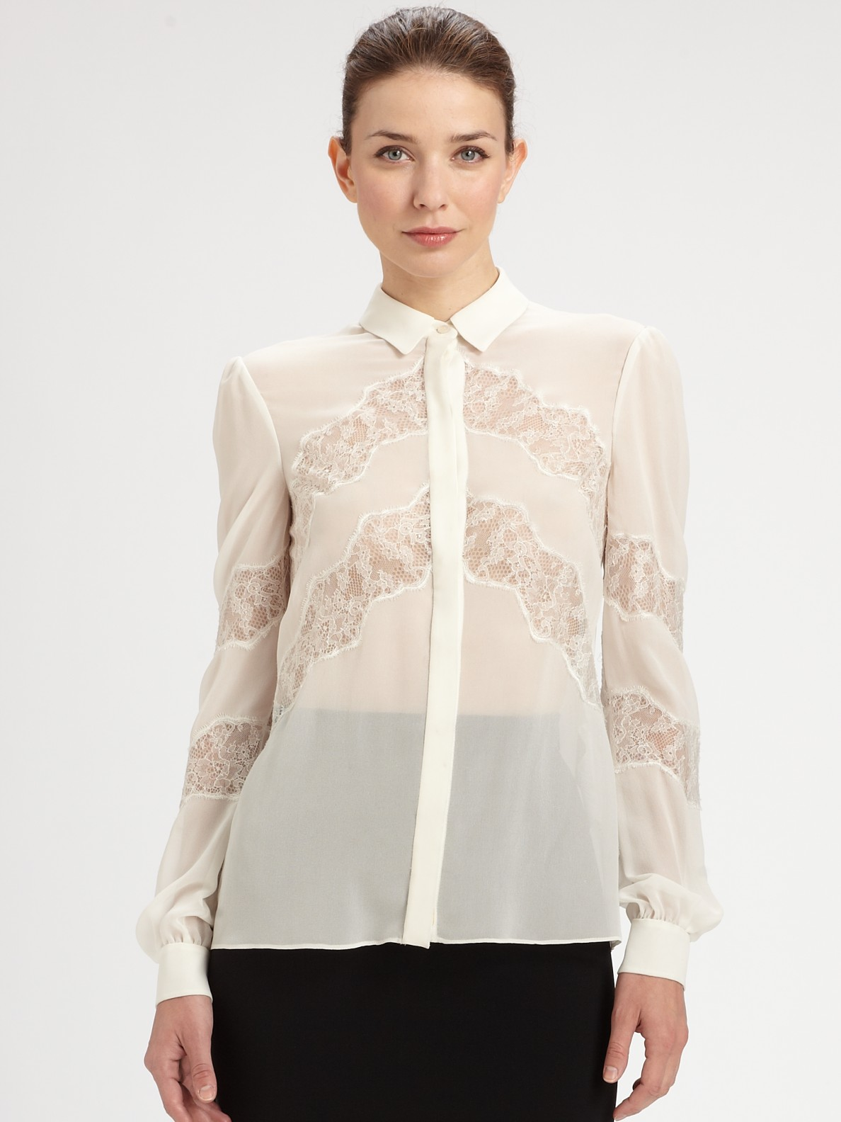 041b4ece64b3f Lyst - Valentino Lace Trimmed Silk Blouse in White