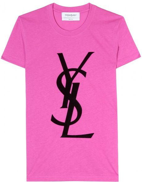 Saint laurent logo tshirt in pink lyst for Yves saint laurent logo shirt