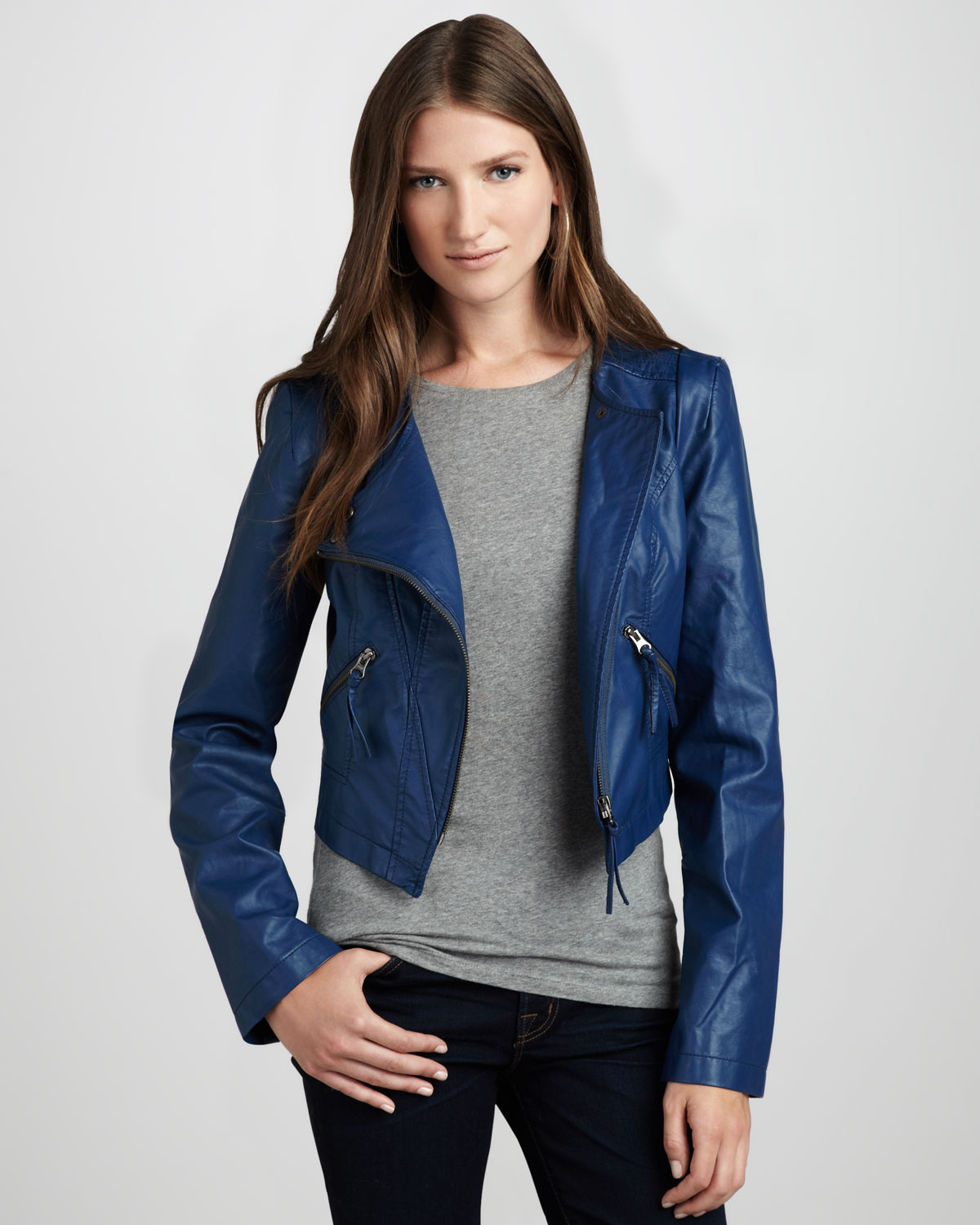 Free People Faux Leather Motorcycle Jacket In Blue Navy