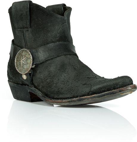 golden goose deluxe brand black suede cowboy boots in