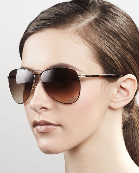 Gucci Aviator Sunglasses in Brown (dark brown) - Lyst