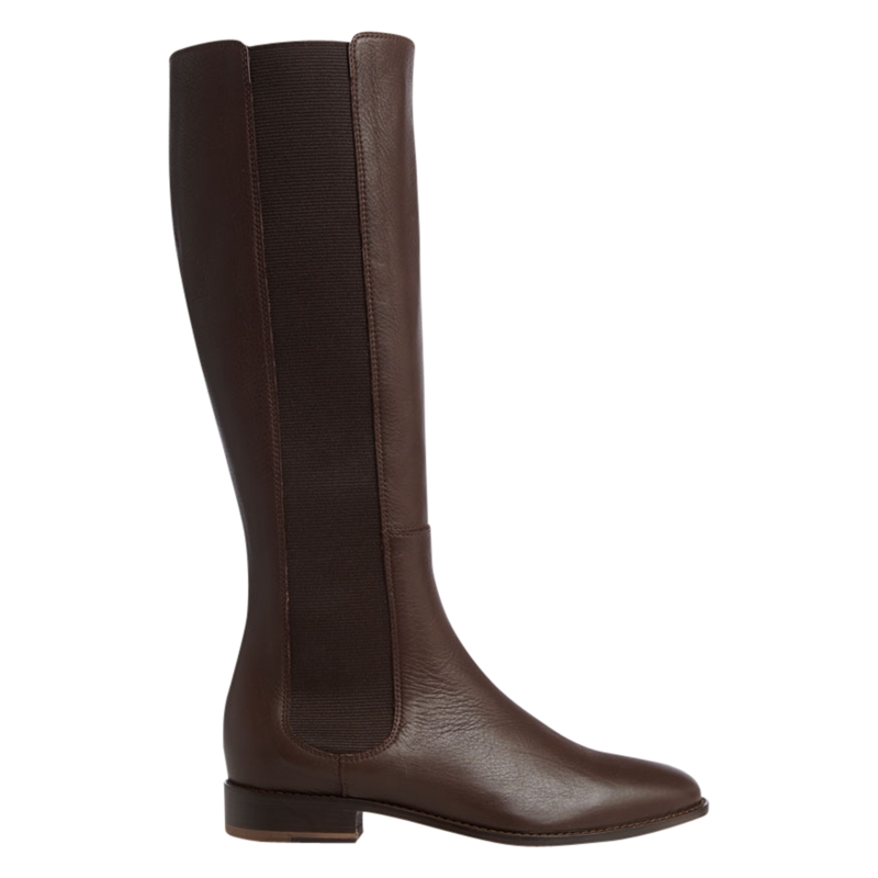 Hobbs Hobbs Marion Leather Elasticated Side Calf Boots Chocolate in Brown