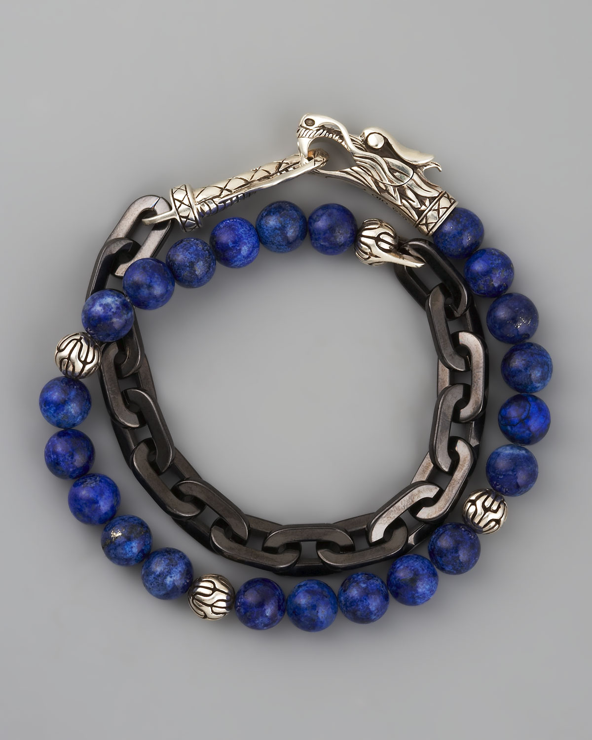 John hardy naga lapis chain wrap bracelet in blue for men for John hardy jewelry factory bali