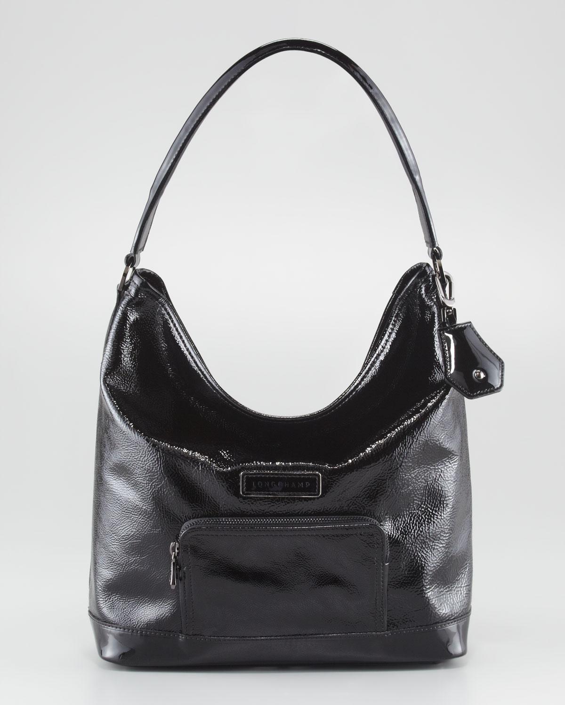 Lyst - Longchamp Legende Verni Hobo Black in Black 29278e4d10ff8