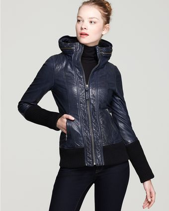Mackage Malu Distressed Leather Jacket with Zip Out Hood - Lyst