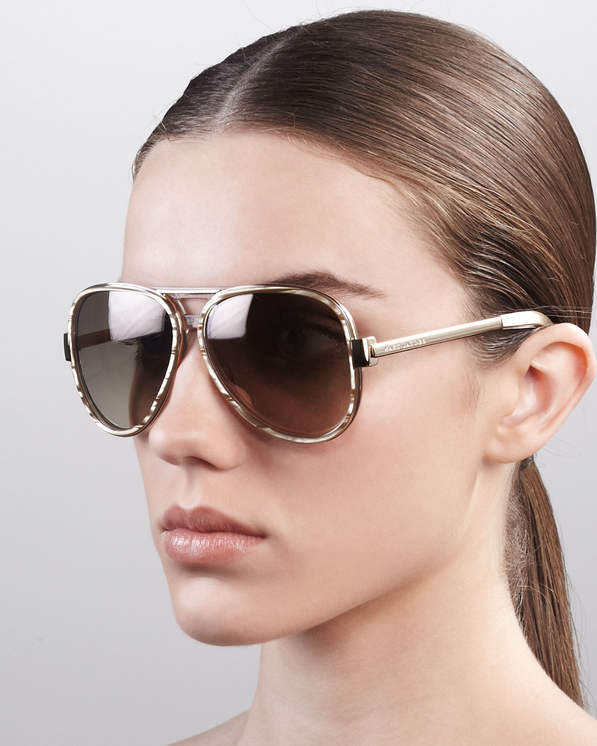 Marc Jacobs Oversized Aviator Sunglasses Sand Striated In