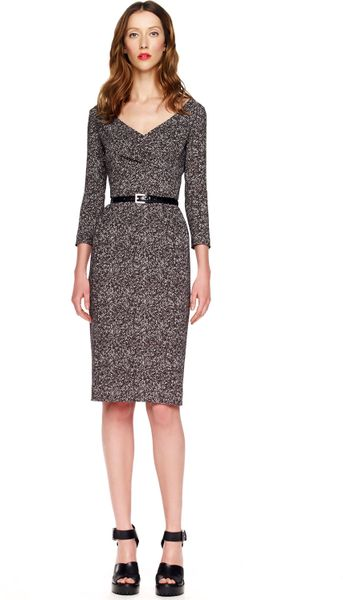 Michael Kors Tweed Herringbone Printed Cady Dress in Gray (black) - Lyst