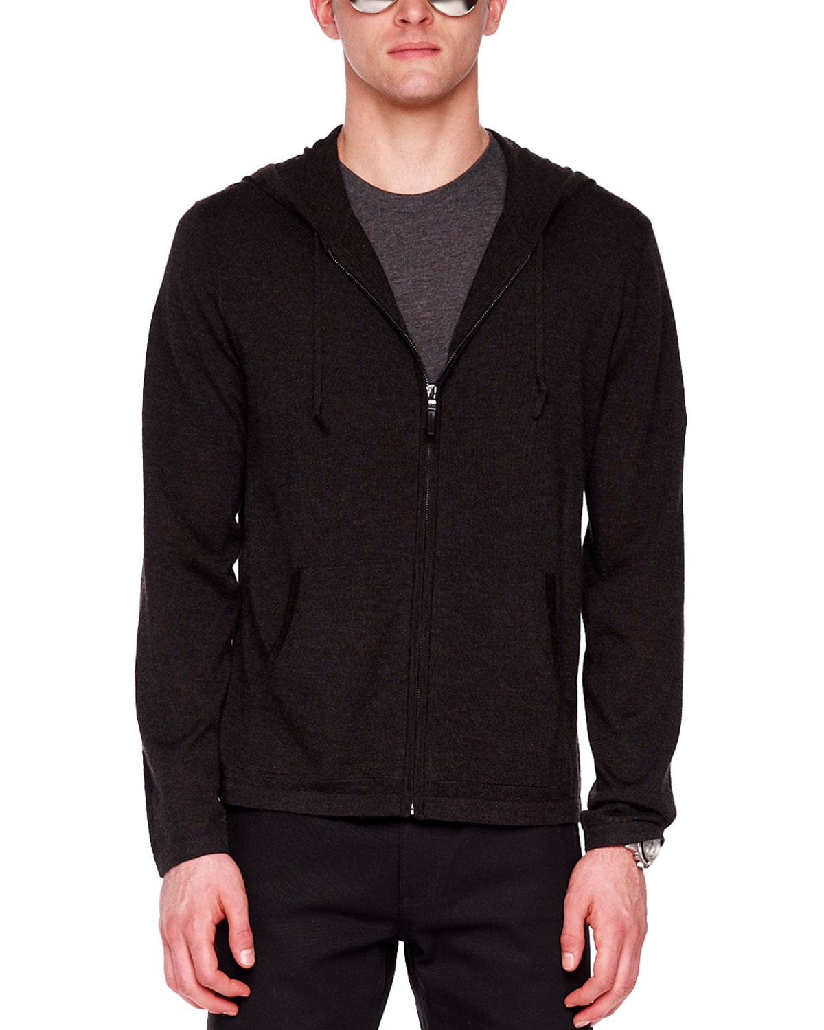 Michael kors Cashmere Zip Hoodie in Black for Men | Lyst