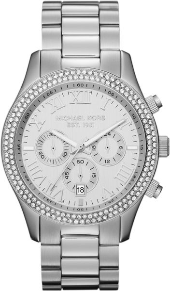 Michael Kors Midsize Silver Color Stainless Steel Layton Chronograph Glitz Watch in Silver (no color)
