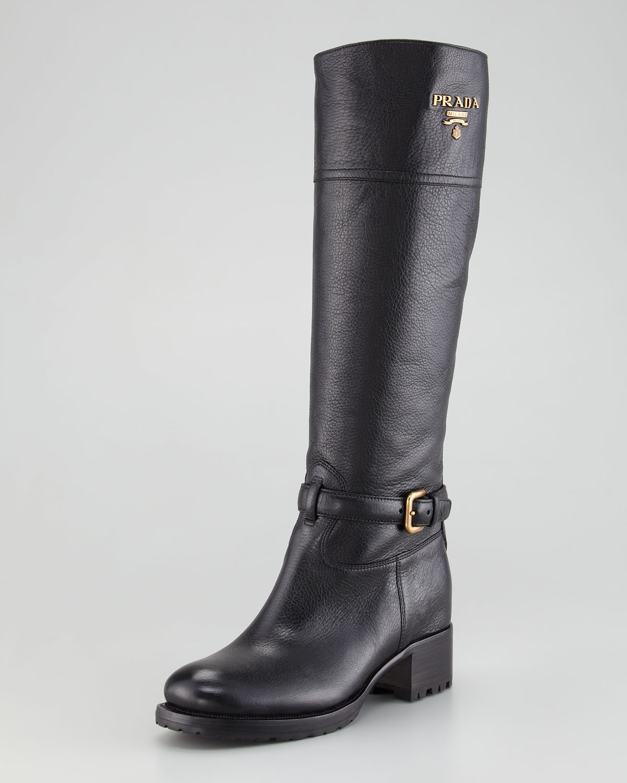 e6c40f029 Prada Logo Flat Riding Boot Nero in Black - Lyst