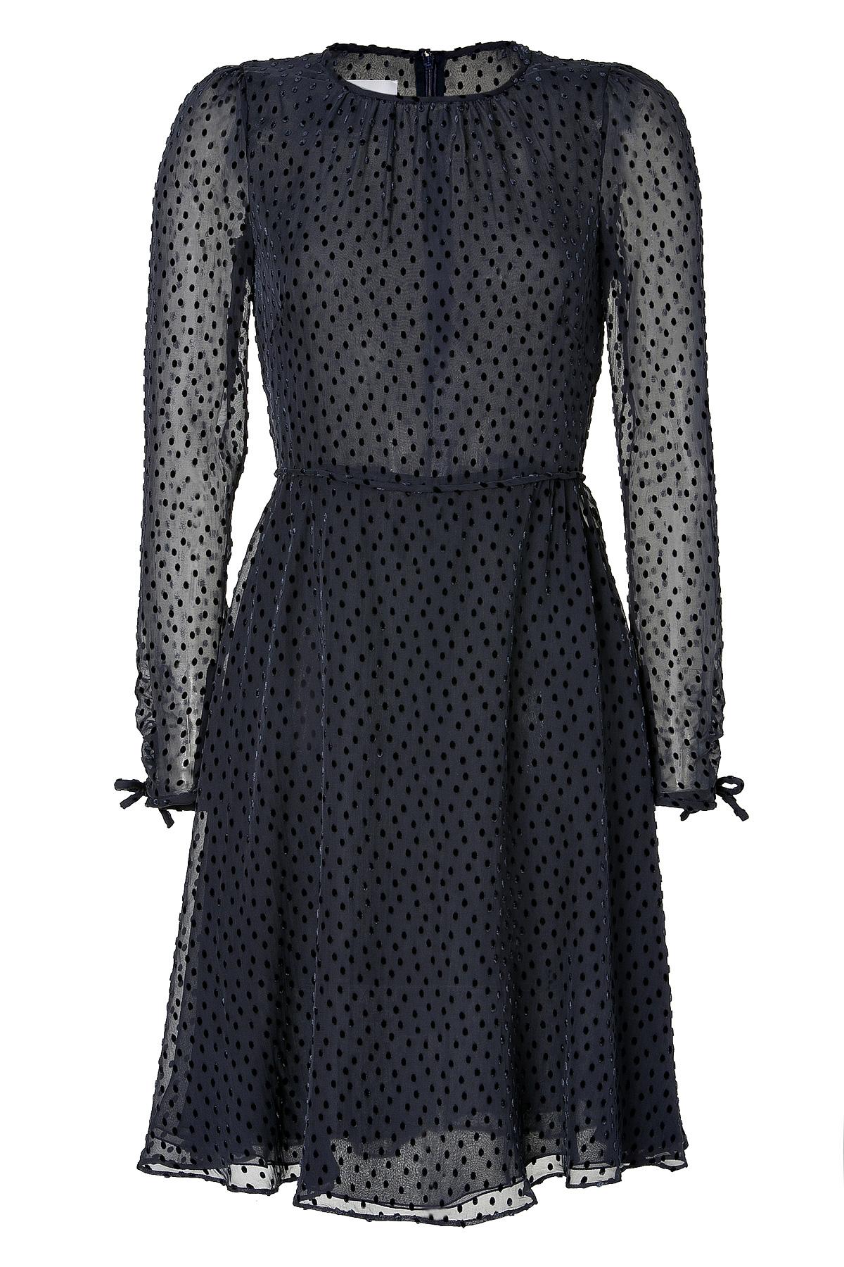 Valentino Black Polka Dot Sheer Dress In Black Lyst