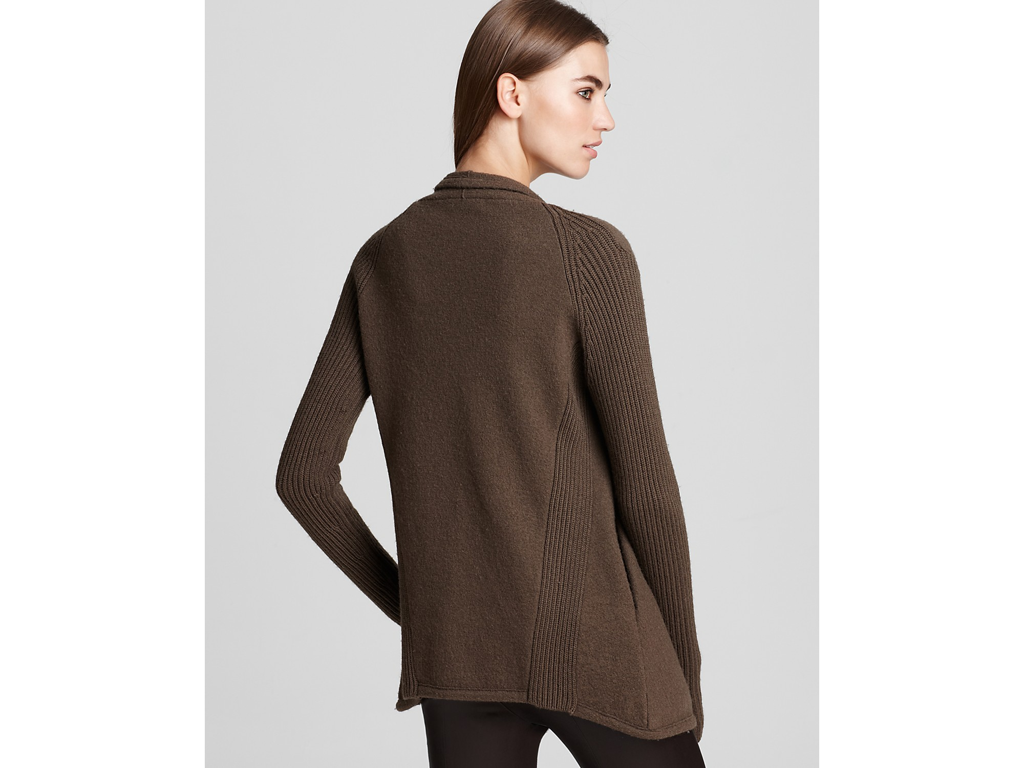 Vince Jacket Boiled Wool Sweater in Brown | Lyst