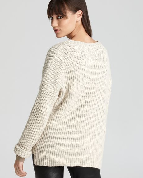 Stitch Knitted Sweater Together : Vince Sweater Rib Stitch Shaker Knit Crew in Beige (ivory) Lyst