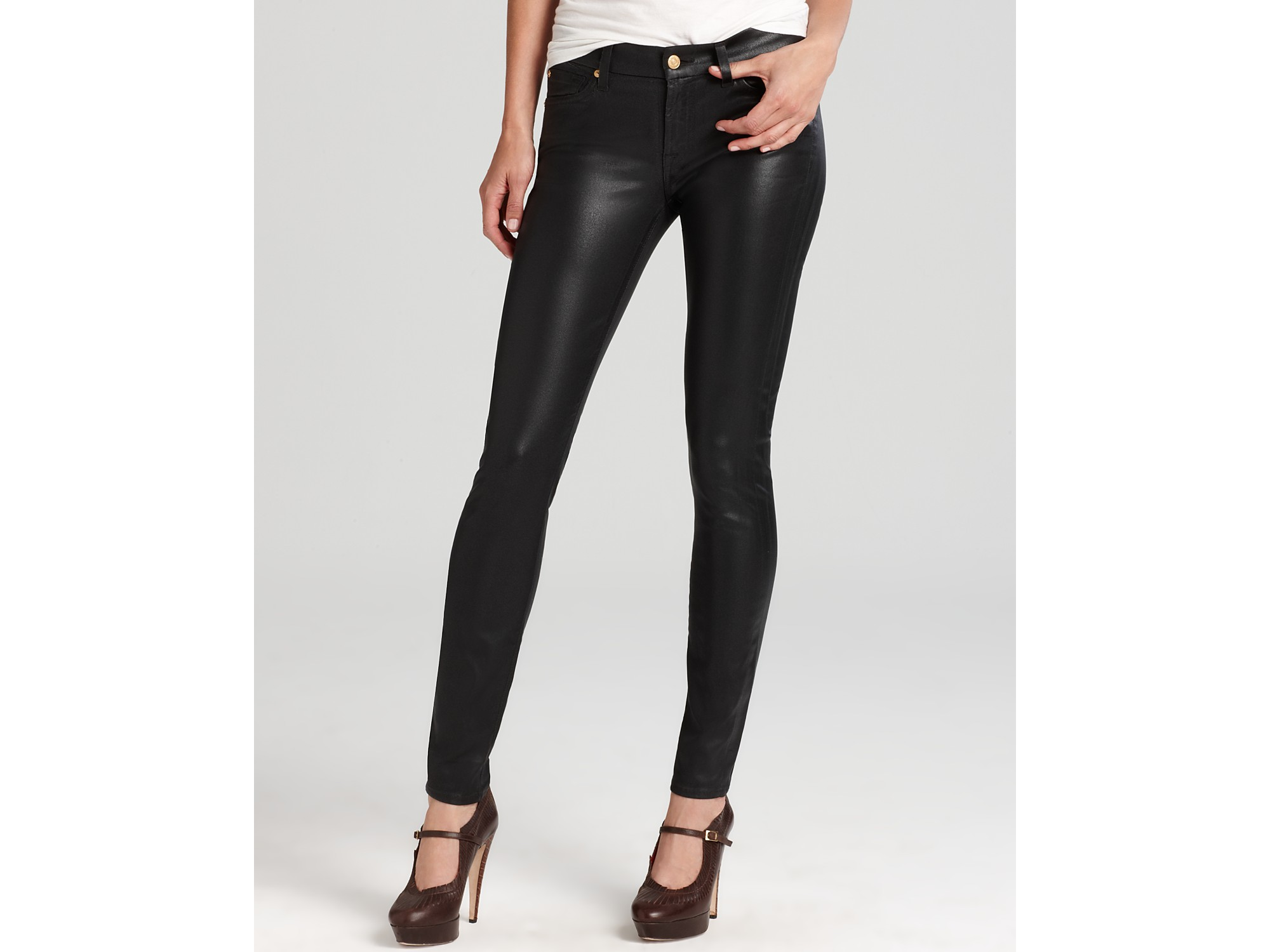 7 for all mankind Jeans High Shine Gummy Skinny in Black in Blue ...