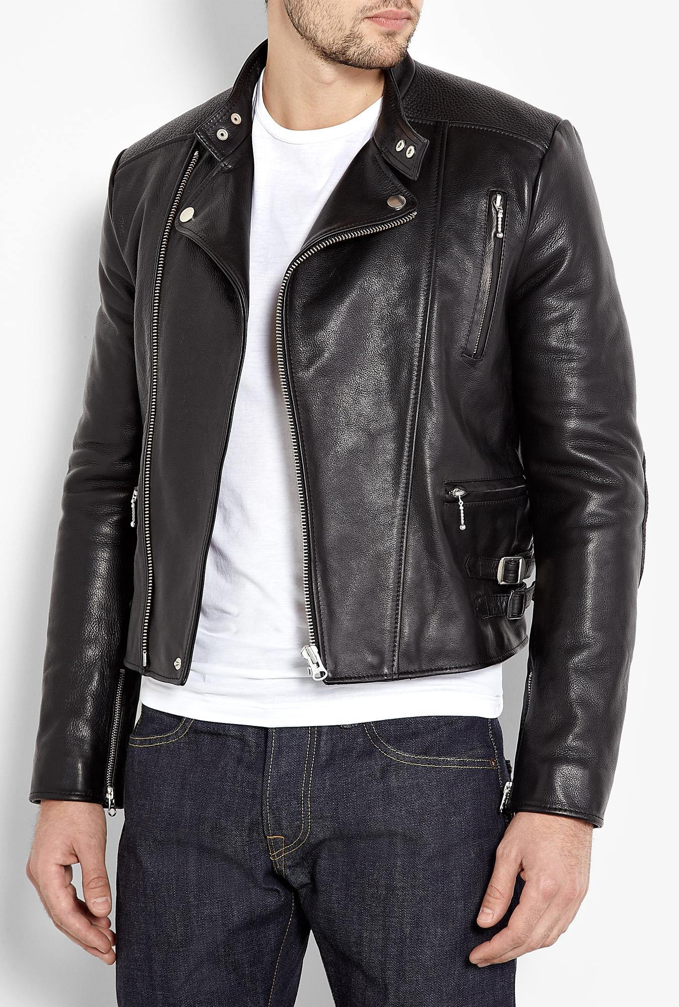 Acne Studios Black Leather Blues Biker Jacket in Black for Men | Lyst