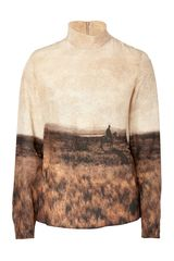 Akris Brown Landscape Print Silk Top