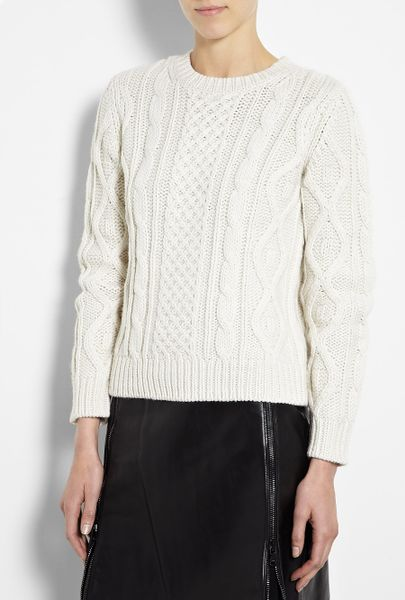 A.p.c. Aran Knit Jumper in White (denim)