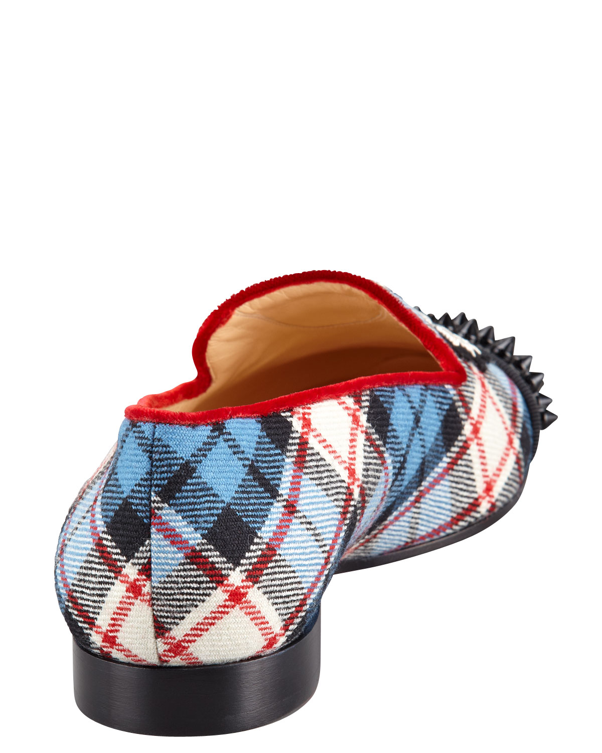 Plaid Red Flat Shoes Under
