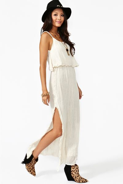 Nasty Gal Dream Crochet Maxi Dress in White (cream)