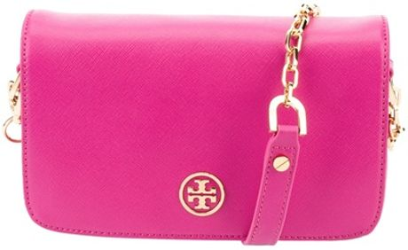 Tory Burch Leather Shoulder Bag in Pink - Lyst