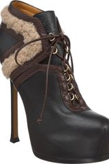 Yves Saint Laurent Tribtoo Shearling Bootie