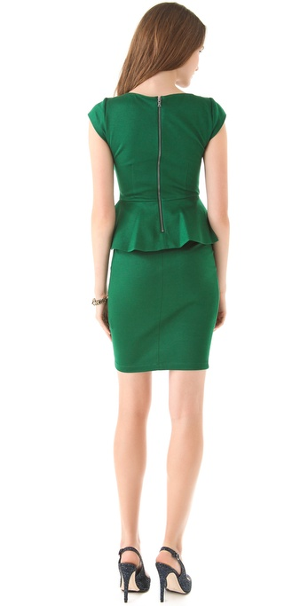 Alice Olivia Victoria Peplum Dress In Green Lyst